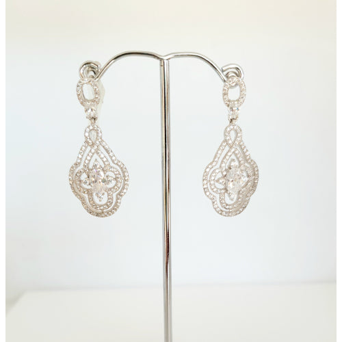 Silver plated CZ bridal earrings