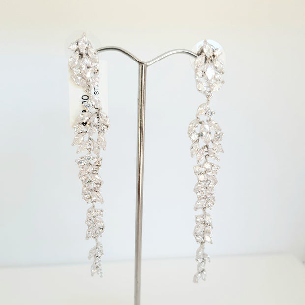 Silver plated clear crystal earrings
