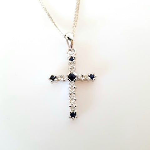 9ct white gold Sapphire with Diamond Cross.