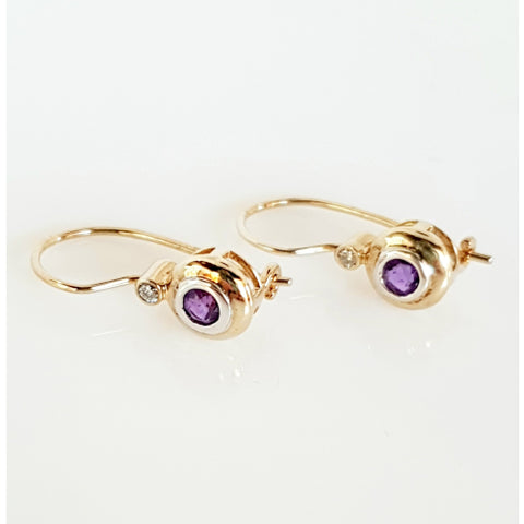 9ct yellow gold Amethyst and Diamond earrings.