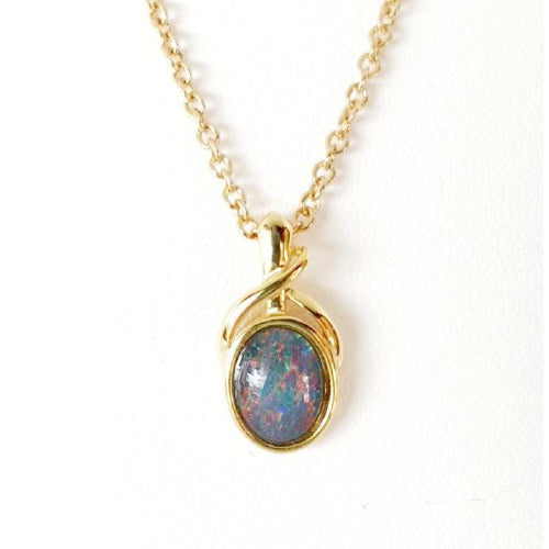Sterling silver gold plated Opal pendant.