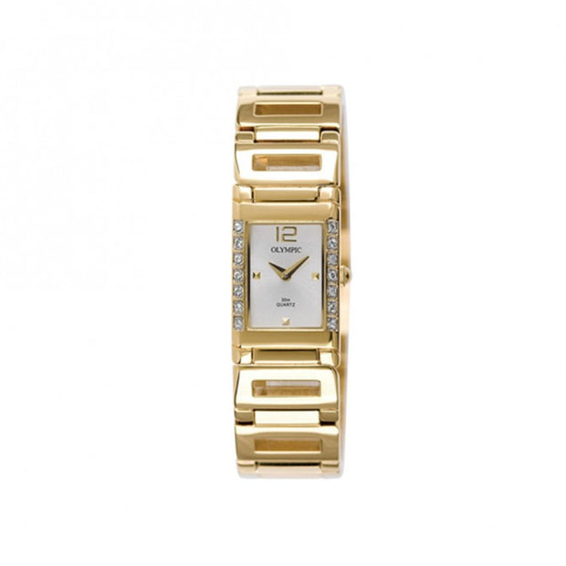 Ladies Gold Stone Set Stainless Steel Watch