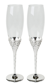 Silver plated & glass wedding flutes.