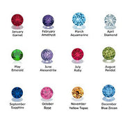 Birthstone colours available in girls signet rings.