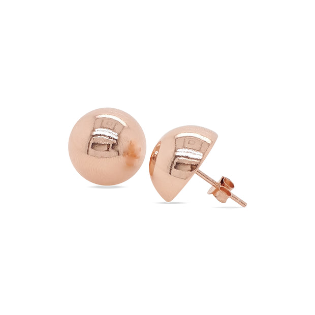 Sterling silver rose gold plated dome stud earrings.