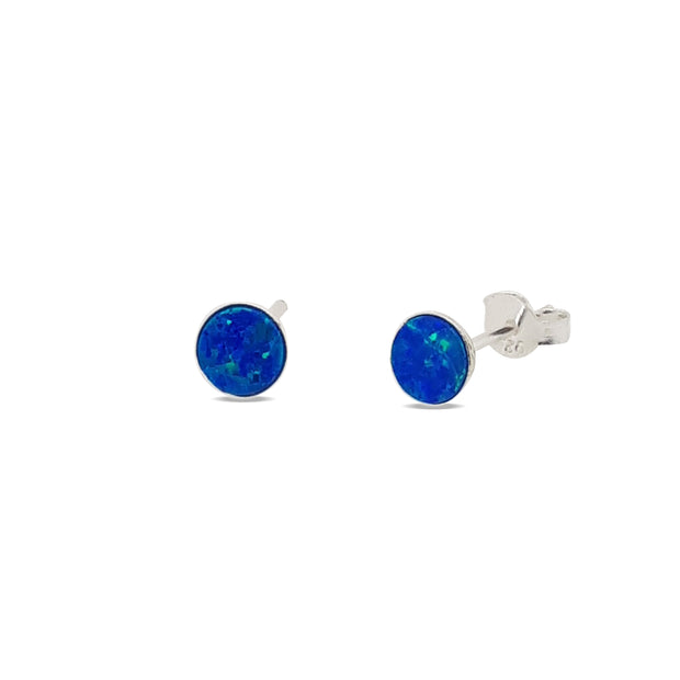 Sterling Silver created opal stud earrings.