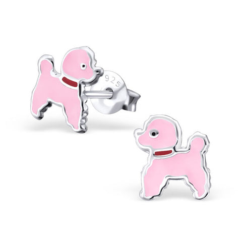 Sterling silver pink poodle studs
