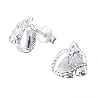 Sterling silver horse stud earrings.