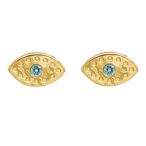 Evil Eye Stud With Blue Topaz In Sterling Silver