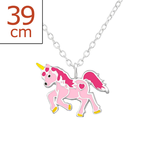 Sterling Silver girls unicorn necklace.