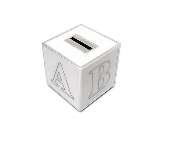 Silver plated cube money box.