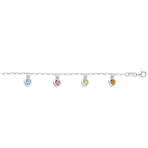 Sterling silver CZ heart charm anklet.