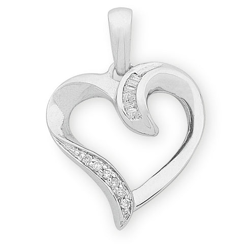 9ct gold Diamond heart pendant.