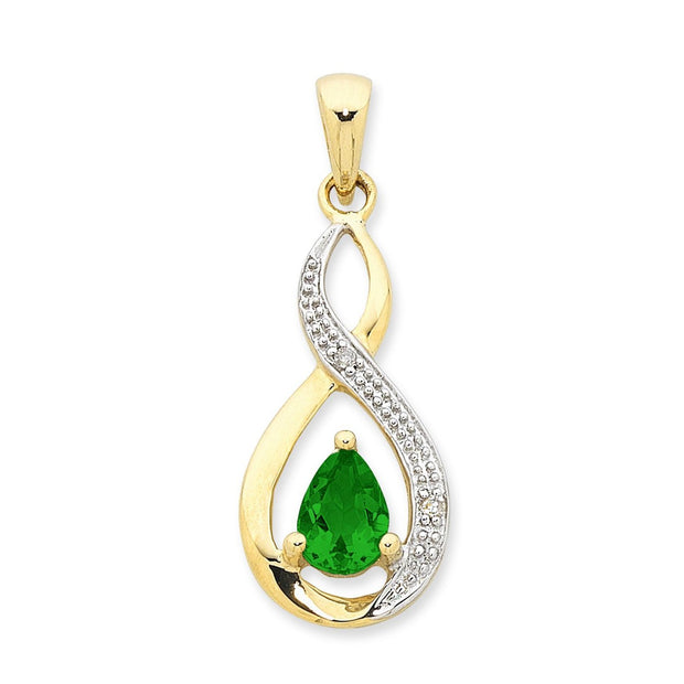 9ct white gold Natural Emerald & Diamond pendant.