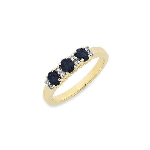9ct Natural Sapphire & Diamond ring.