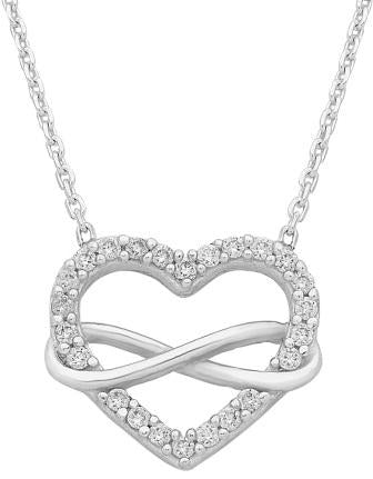 Sterling silver cubic zirconia heart necklace.