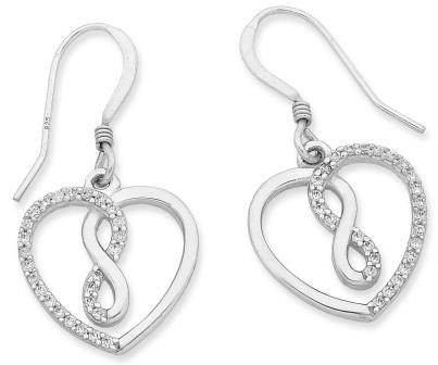 Sterling silver CZ earring & pendant set.