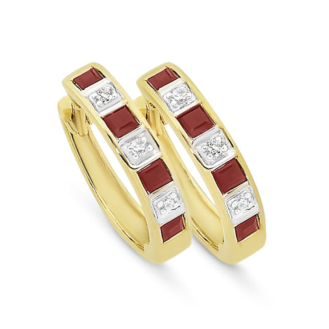 9ct yellow gold natural Ruby & Diamond hoops.