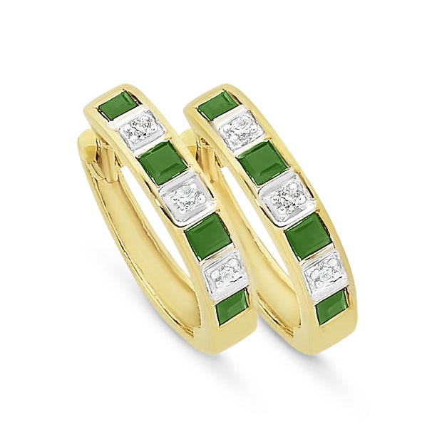 9ct yellow gold Natural Emerald & Diamond earrings.