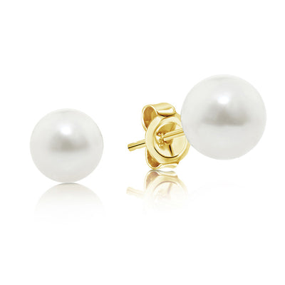 9ct Freshwater button pearl earrings.