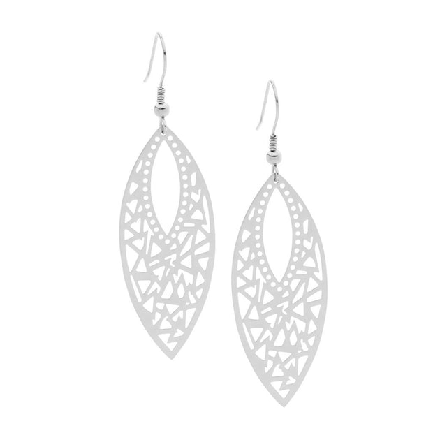 Stainless Steel leaf drop earrings.