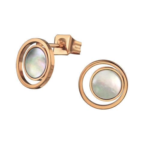 Steel light plated Mother of Pearl circle studs.