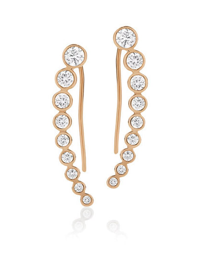 Rose gold plated Cubic Zirconia hook earrings