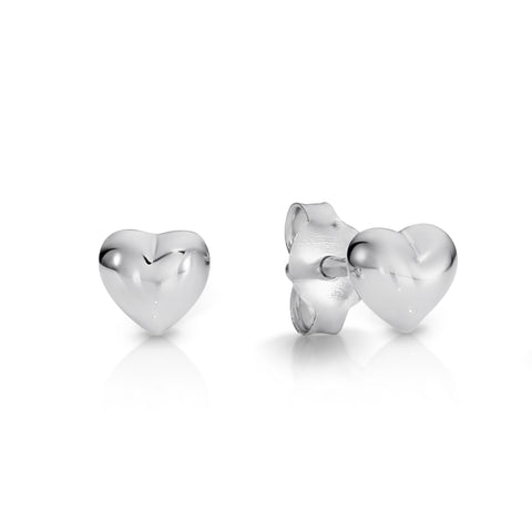 Sterling Silver puff heart studs.