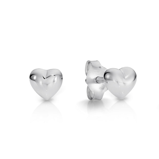 Sterling silver heart stud earrings.