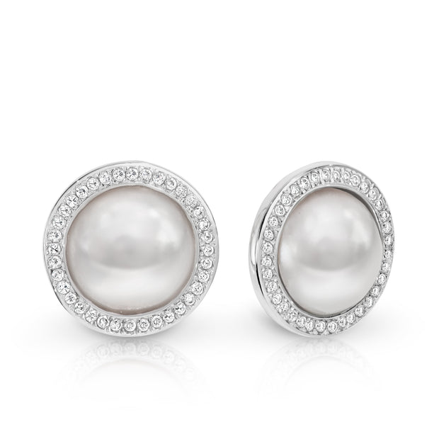 Sterling silver Mabe Pearl & CZ stud earrings.