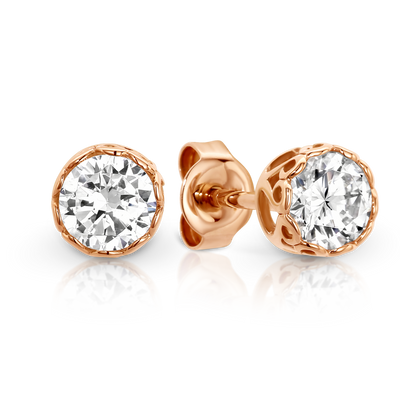 9ct Rose Gold CZ stud earrings.