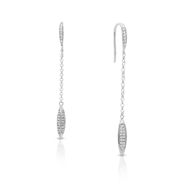 Sterling Silver & CZ drop earrings.
