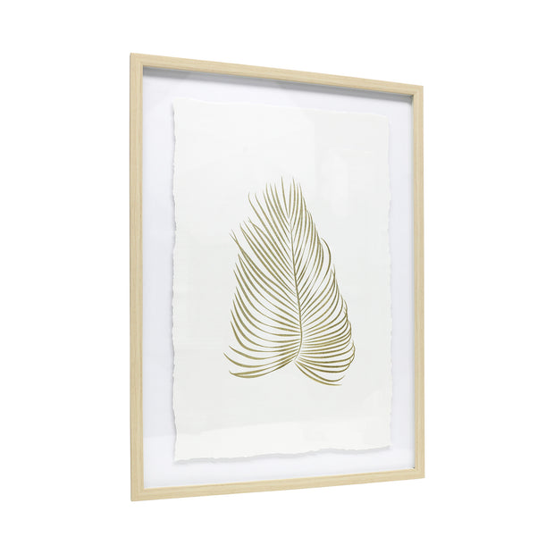 Tranquil Gold Feather Framed Art.