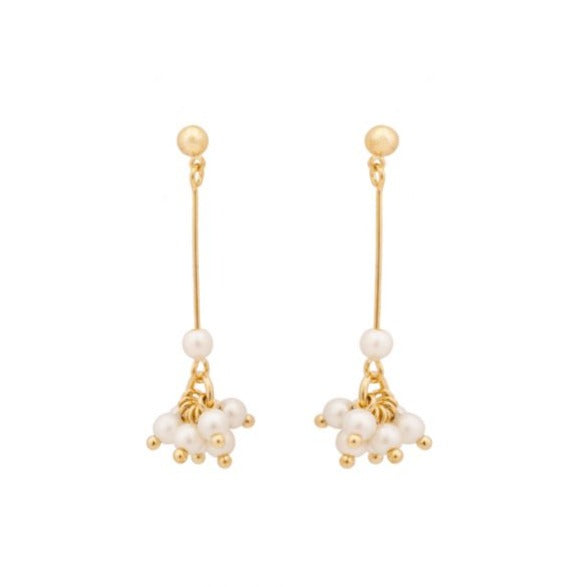 Gold plated pearl drop earrings.