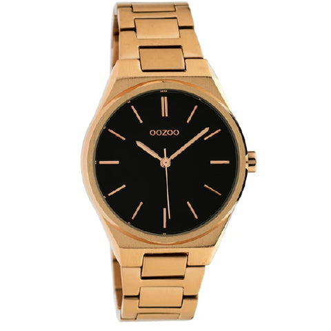 Oozoo rose gold & black watch