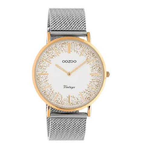 Oozoo Silver &  Rose mesh band watch