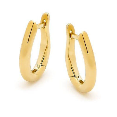 9ct oval shaped huggie earrings.