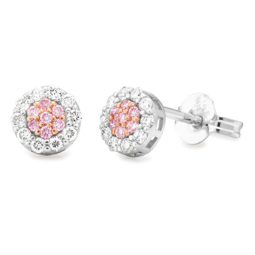 Diamond Cluster Claw/Bead Set Pink Diamond Earring in 9ct White & Rose Gold