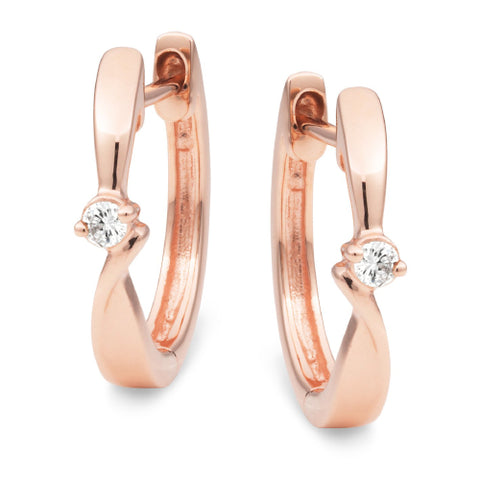 Diamond Claw Set Huggie Earring in 9ct Rose Gold