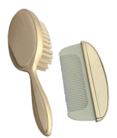 Gold plated child's brush &comb set.