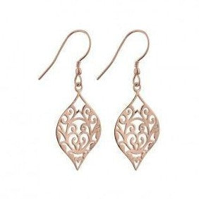 Sterling silver filligree drop earrings.
