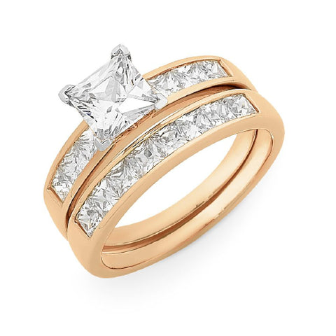 9CT ROSE GOLD CZ BRIDAL SET