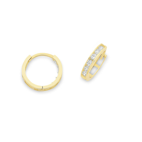 9ct yellow gold CZ earrings.