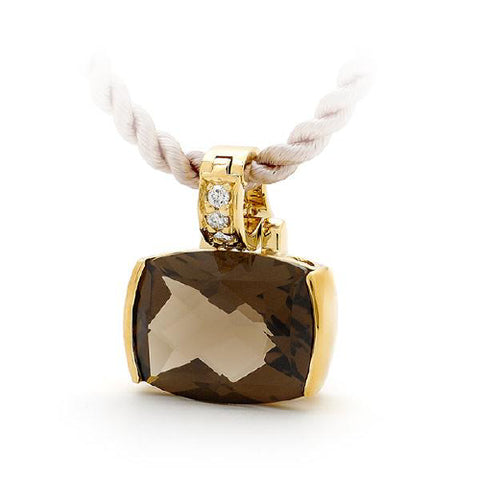 Smokey Quartz End Set Coloured Stone Enhancer in 9ct Yellow Gold