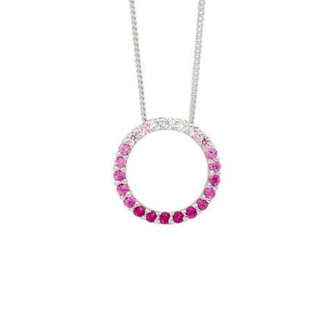 Ellani Jewellery open circle necklace. Pink
