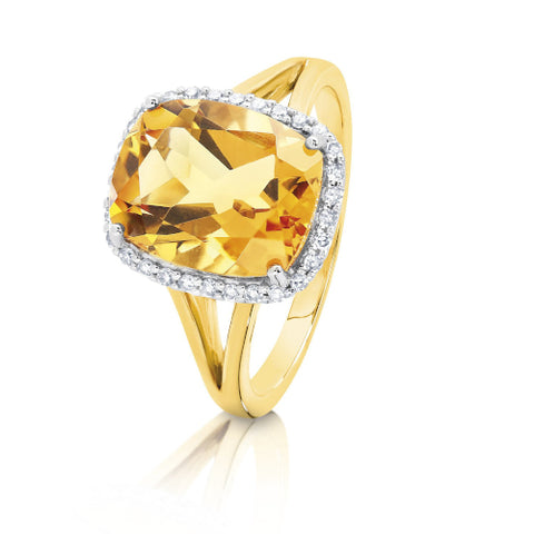 9ct yellow gold Citrine and Diamond ring.