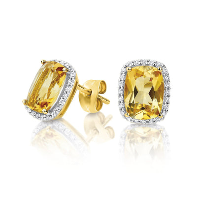 9ct yellow gold Citrine & Diamond Earrings