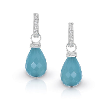 Blue Chalcedony & CZ hoop earrings