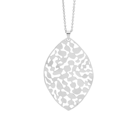 Steel leaf necklace by Ellani. Steel