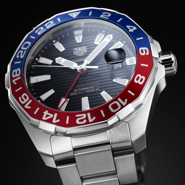 TAG Heuer Aquaracer GMT 43mm Stainless Steel Watch WAY201F.BA0927 - Vincent Watch